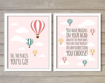 Oh, the Places You'll Go! Instant Download Digital Printable -Set of 2 8x10- Dr. Seuss Hot Air Balloon Pink Nursery Baby Girl Decor Wall Art