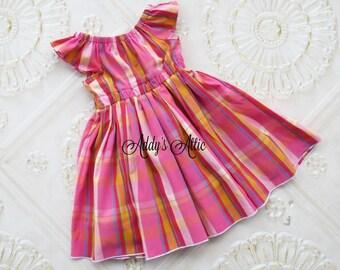 Girls Plaid Flutter Sleeve Dress, Girls Plaid Dress, Toddler Dress, Girls Dress, Spring Dress, Girls Peasant Dress