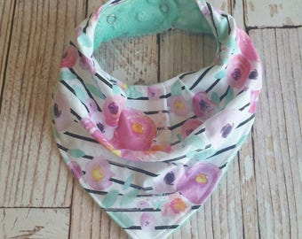 Girls Bandana Bib - Girl Baby Bib - Pink Mint Baby Bib - Girl Bandana Bib - Watercolor Floral Baby Bib - Drool Bib - Baby Shower Gift