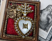 1800s Rare Petite Antique French Paste Ex Voto Sacred Flaming Heart, Marian Talisman for the Passionate, offered by RusticGypsyCreations
