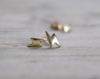 Tiny Lighting Bolt Earring Stud, Tiny Stud Earrings,  14K yellow gold Earrings, Upper Ear Studs