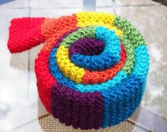 Chakra Rainbow Double HAND Knit Tube Scarf in Soft ALPACA WOOL / Chakra Knits / Coloful Gift / Yoga