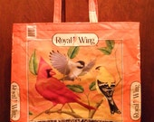NEW LOW PRICE, Large Royal Wing Bird Seed Bag, Upcycled Recycled Repurposed Grocery  Market Tote or Gift Bag for Bird Lovers