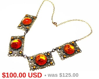 Antique Art Deco Necklace - Topaz Gold Glass Faceted Rhinestones - Gold Tone Panel - Art Nouveau European Early 1900s Post Victorian Jewelry
