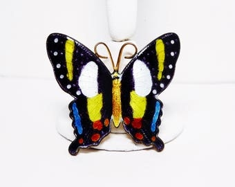 Monarch Butterfly Brooch - Enamel Black, Yellow, Orange Butterflies - Enamel on Brass Setting - Flying Insects - Vintage 1960's 1970s Era