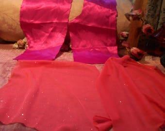 Vintage Fabric Remnants Glitz and Satin