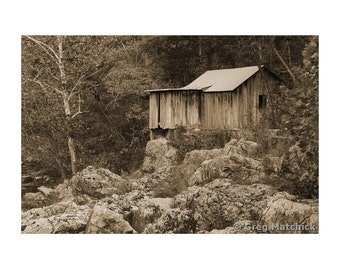Fine Art Sepia Photography of Rural Americana  the Old Klepzig Mill on Mill Mountain in the Missouri Ozarks