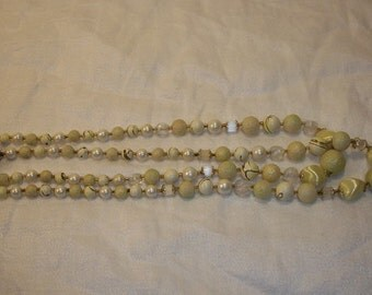 vintage Lovely Double Strand Yellow and White Beads Japan