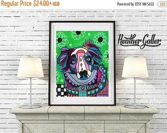 50% Off Today- Australian Shepherd Art Painting  Art Print Poster by Heather Galler (HG675)