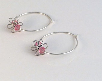 Sterling Silver Hoops and Flowers with Pink Swarovski Beads