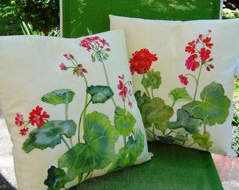 Summer Geraniums Pillow 16x16 Hand Painted Original Art Elegant Red Flowers Creamy Background Summer Home Pillow Porch Delightful Decor
