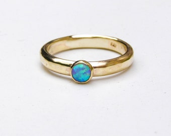 9k Solid Gold Ring, Opal Engagement Ring, Alternative Engagement Ring, Blue opal Ring, Wedding Ring, Unique Engagement Ring, Promise Rings