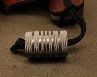 Way Too Large Knurled Aluminum Lanyard Bead With Six Grooves and a Free Paracord Lanyard