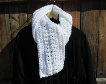 Winter White Handmade Crochet sparkle scarf