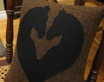 Wool Horse Heart Shaped Silhouette Pillow....Primitive Style