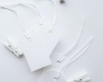 White Textured Mini Gift Tag - Wedding Favours - Wedding Shower gift tag - Baby Shower - Set of 22 - colour twine options #GT W
