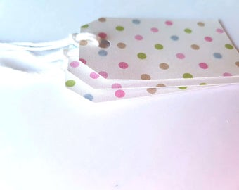 Pink, Blue & Green Polka-dot Mini Gift Tag - Wedding Favours - Wedding Shower gift tag - Baby Shower - Set of 22 - colour twine options
