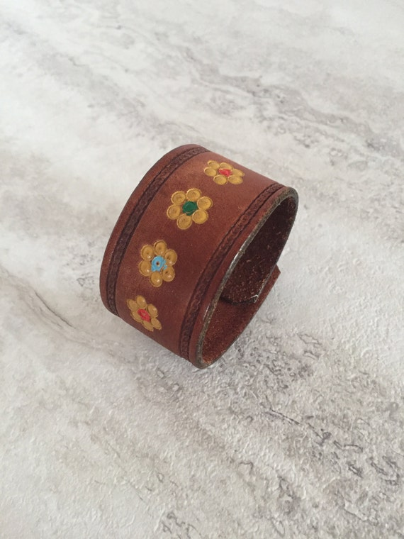 Handmade Women's Hand painted Leather Bracelet with Flower