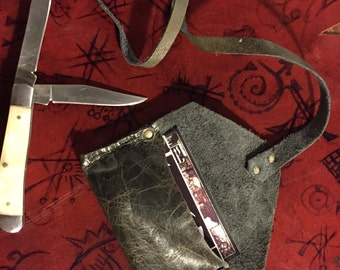 Distressed Charcoal Upcycled Leather Pouch and Penknife Set
