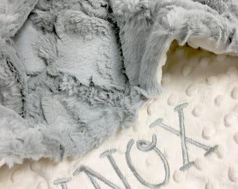 Baby Blanket, Personalized Baby Blanket, Gray Lattice and Ivory Minky Baby Blanket, Newborn Boy Baby Blanket, Stroller Size