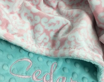 Pink White and Blue Damask Minky Baby Blanket Personalization Included Stroller Size