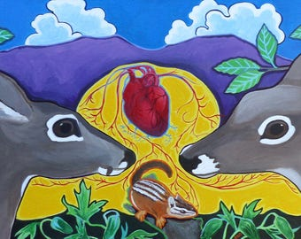 I heart the Mountains Original Mule Deer Painting