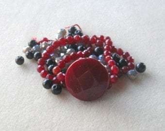 Ruby Red Jade, Obsidian Beads, Faceted Glass, Jewelry Making Beads, DIY Jewelry Kits, Bead Kits, Necklace Kit, Jewelry Design