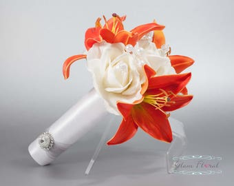 White & Orange Wedding Bouquet w Pearls Crystals - day lilies, roses, Small Bridal Brides Bouquet, Bridesmaid. Caroline Rose Collection