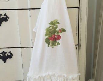 Strawberry FlourSack | Ruffled Towels | TeaTowel | Farmhouse Towel | Strawberries | Cottage Home | FlourSack Towel | Ruffled FlourSack