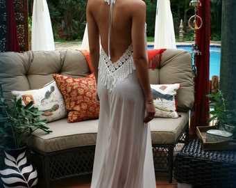 Bohemian Backless Satin Nightgown Bridal Lingerie Wedding Nightgown Peacock Lace Halter Gown Honeymoon Lingerie