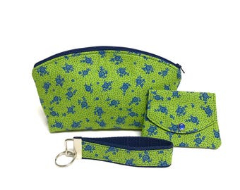 Women's Make-Up Bag, Wallet/Gift Card Holder/Key Fob Gift Set in Tiny Navy Floral Print on a Spring Green Background