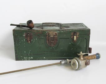 Old, Distressed Green Metal Tackle Box, Toolbox with Loads of Character