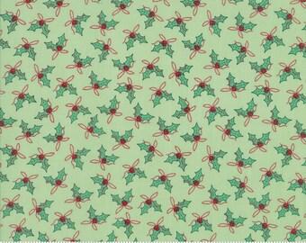 Moda Sugar Plum Christmas Fabric - Green Christmas Fabric - Green Holly Quilting Fabric By The 1/2 Yard