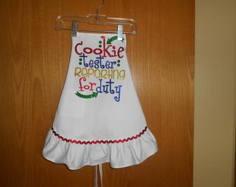 Cookie Tester Reporting for Duty Ruffle Child's  Apron