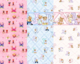 Dolls House Nursery Wallpaper 1/12th scale Choice of Blue Pink designs
