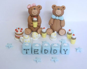 Handmade Edible Teddy Bear Picnic Cake Topper Decoration christening Baby blue