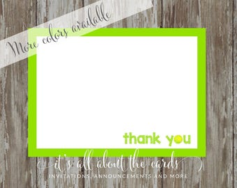 Set of 6 - 5 x 7  FLAT Tennis 6 note cards with envelopes - Tennis thank you!