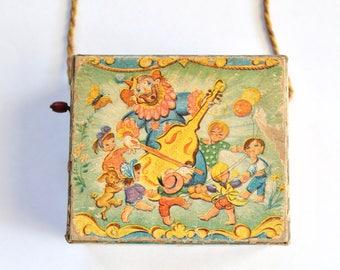 Vintage 1940's Hurdy Gurdy Clown Musical Toy!
