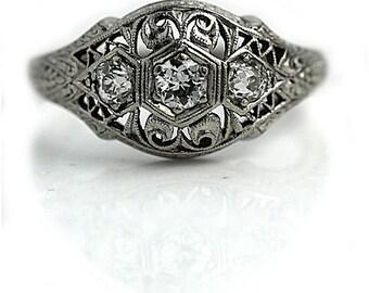 Art Deco Diamond Ring .45ctw Antique Engagement Ring European Cut Platinum Engagement Ring 1930s Ring Vintage Estate Diamond RingSize 7!