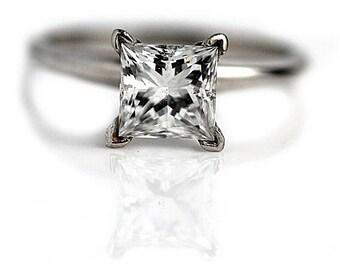 Princess Cut Engagement Ring 1.63ctw GIA Diamond Princess Cut Solitaire Diamond Engagement Ring 14 Kt White Gold Solitaire Diamond Ring
