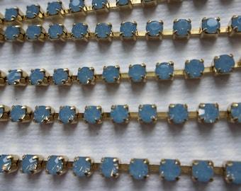 3mm Blue Opal Rhinestone Chain - Brass Setting - Light Sapphire Blue Opal Preciosa Czech Crystals
