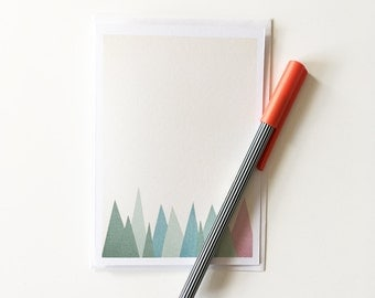Mountain Card, Abstract Mountain Art, Blank Greetings Card - Snowy Mountains