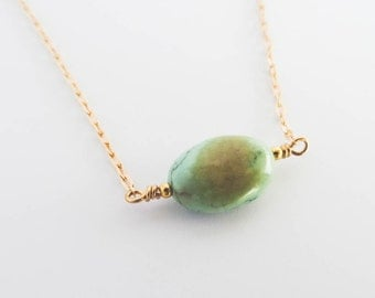African Turquoise Simple Drop Necklace | Gemstone Gold Filled Necklace | You're a Gem Collection