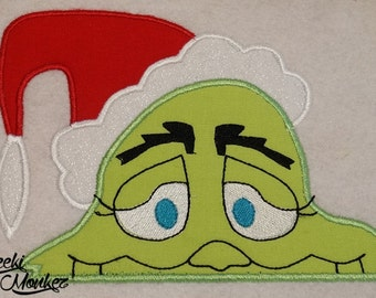Ready to Ship RTS Boutique Custom Grinchy Peeker inspired embroidery Applique Iron On Patch DIY 5x7