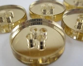 6 pcs Acrylic Circle Buttons - 15mm - Plexiglass Button - Plastic Button - Fashion Scrapbooking sewing - Golden Mirror (BUP007GM)