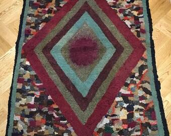 Vintage Durham Rug. Latch Hook Rag Rug. Bedside Mat. Rich Colours.