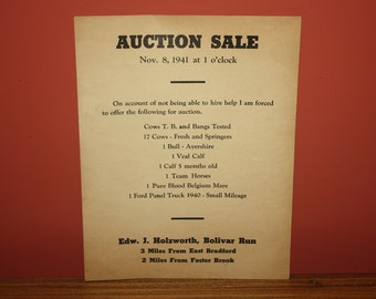 Vintage 1941 Farm Auction Sale Poster: Edw. Holzworth, Bradford PA. COWS, HORSES, Dairy Dispersal Adverising