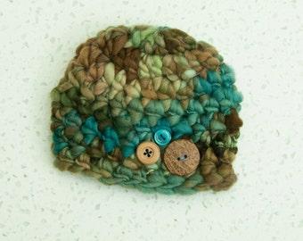 Newborn Boy Thick Thin Button Beanie Earth Tones Blue Brown Green READY TO SHIP Hat Prop