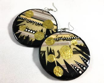 "Large Modern, Bold Upcycled ""Al-Quds"" Palestinian Newspaper Mixed Media Earrings"
