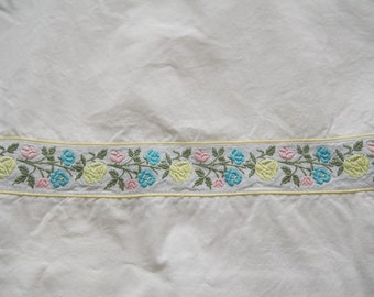 Vintage Cotton Sheet Embroidered Ribbon Trim Double Bed Wabasso